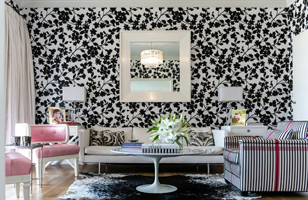 15 living room with floral wallpapers home design lover for Black wallpaper bedroom ideas