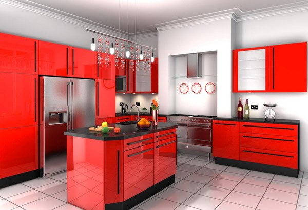 extremely hot red kitchen cabinets  home design lover,Red Kitchen Cabinets,Kitchen ideas
