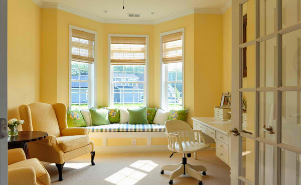 sunny yellow walls - Bay Window Design Ideas