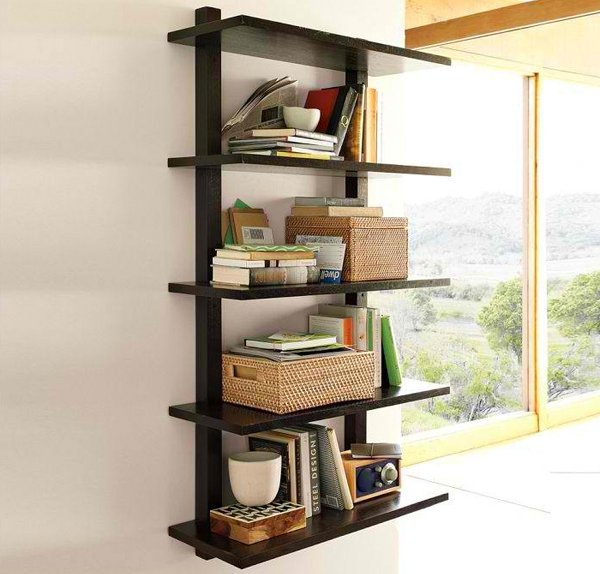 wall mounted bookcase tall - Wooden Wall Rack Designs