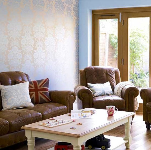 metallic wallpaper - 15 Relaxing Brown And Tan Living Room Designs Home Design Lover