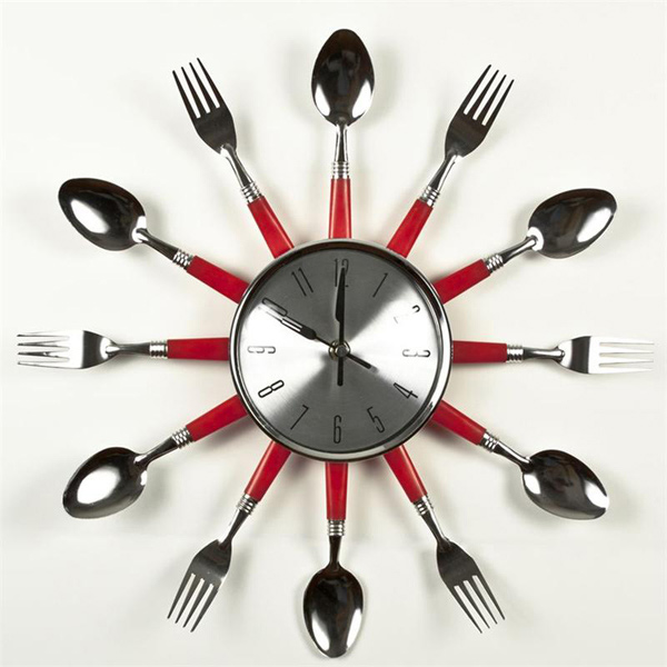 contemporary kitchen cutlery and utensil wall clock. 15 excellent