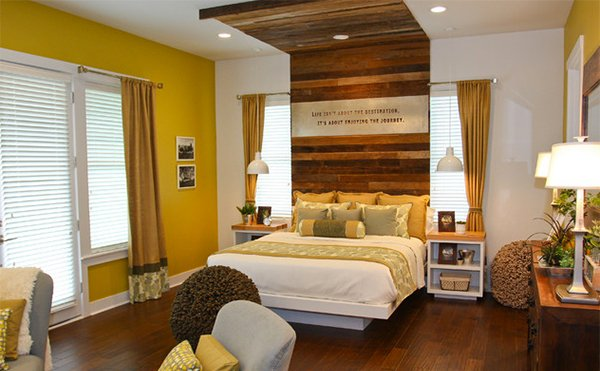 Rustic Retreat bedroom. 15 Visually Pleasant Yellow and Grey Bedroom Designs   Home Design
