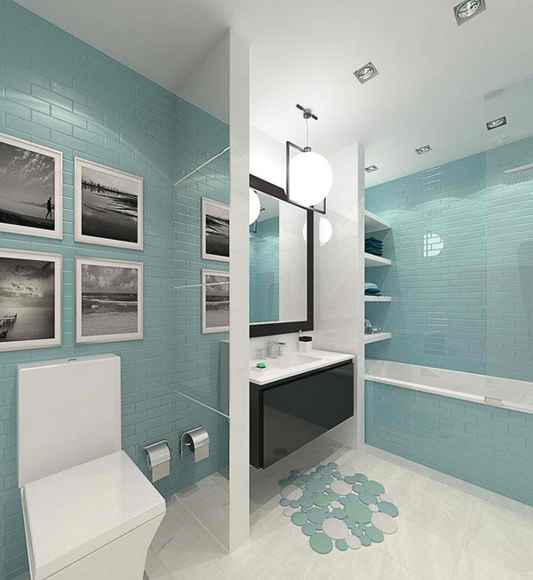 Interior Project for 1 Bedroom Apartment. 15 Turquoise Interior Bathroom Design Ideas   Home Design Lover