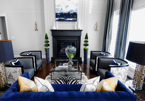 dark blue atmosphere interior design - Formal Living Room Design Ideas