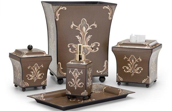 Julia Chocolate Metal Tole Bath Accessories