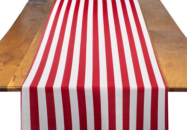 Red &amp White Stripe Table Runner