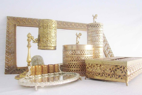 mid century vanity set gilt gold accessories luxury bathroom