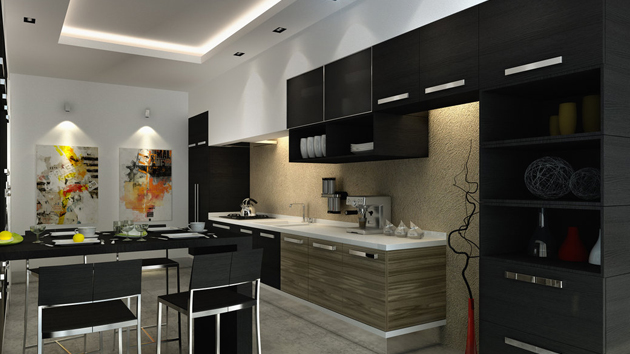 15 astonishing black kitchen cabinets home design lover - Black Kitchen Cabinets Pictures