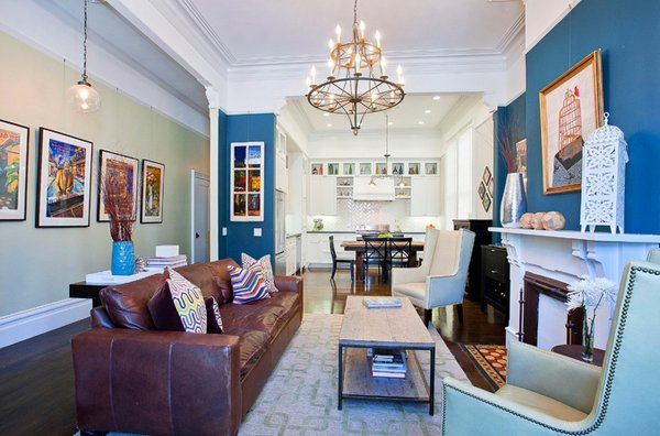 brown blue living rooms