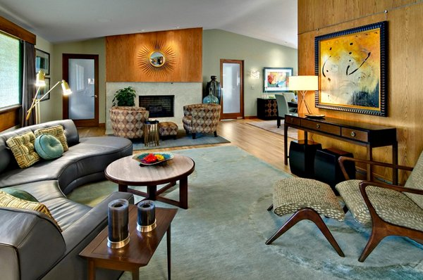plywood paneling - Mid Century Living Rooms
