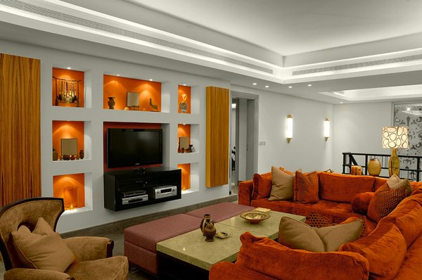 orange interior shelves