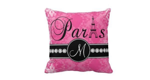 Black Parisian Monogram Pillow