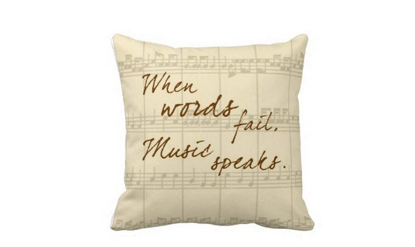Music Speaks Throw Pillow