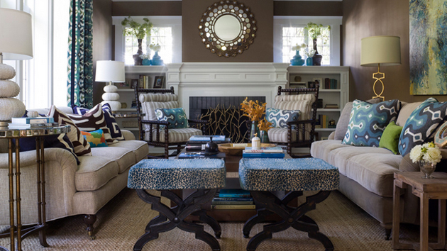 Combination of brown and blue living rooms home design lover