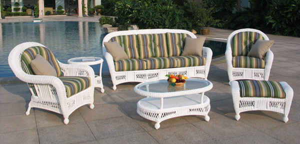 striped green fabrics - Get The Classic Charm Of 15 White Wicker Furniture Home Design Lover
