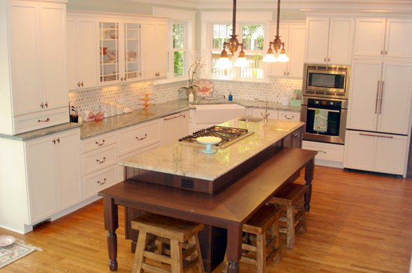 15 Beautiful Kitchen Island With Table Attached | Home Design Lover