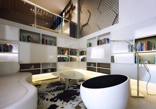 black and white modern space
