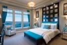 brown teal bedroom
