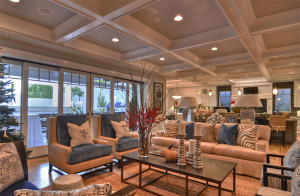 coffered ceiling living rooms