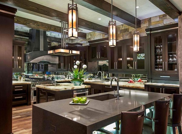 modern look - Large Kitchen Layouts