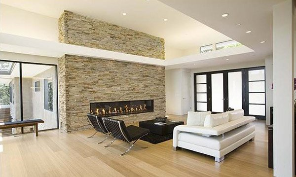 earth toned. A Twist of Old Brick Fireplaces in 15 Modern and Contemporary