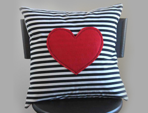 Red Heart Pillows Cover Black and White Striped