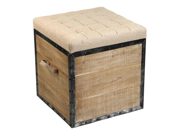 Stool design - 15 Burlap And Upcycled Ottomans For French Country Interiors