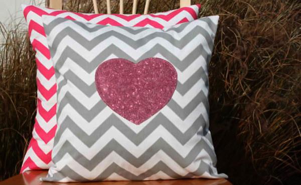 Modern Sparkle Heart Pillows Cover