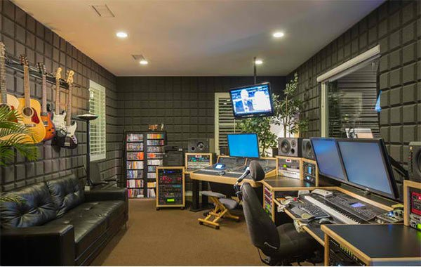 gray music studio - Home Music Studio Design Ideas