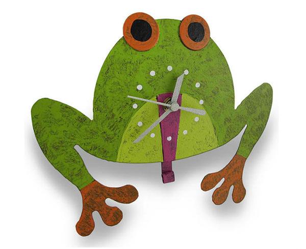 Metal Tree Frog Wall Clock Pendulum Tongue