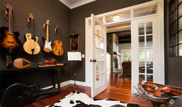 cow hide area rug - Home Music Studio Design Ideas