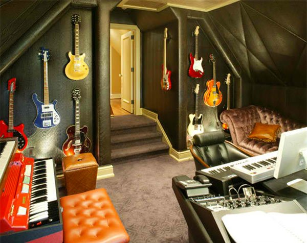 upholstered vinyl fabric - Home Music Studio Design Ideas
