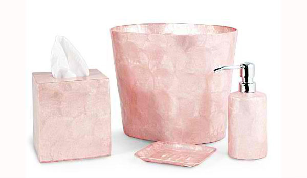Pink Capiz Bathroom Accessories