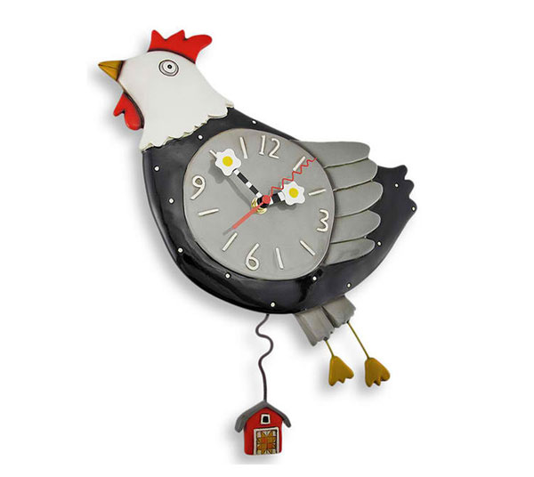 Flew the Coop Chicken Wall Clock with Barn Pendulum