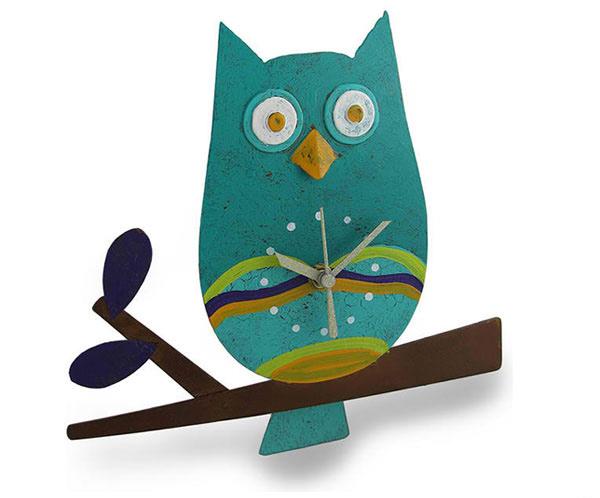 Teal Perched Owl Metal Art Pendulum Wall Clock