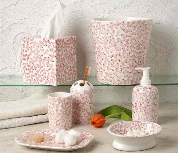 exciting red bathroom accessories sets | 15 Chic Pink Bathroom Accessories Set | Home Design Lover