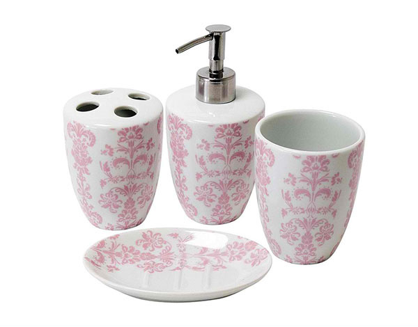 Damask Porcelain Bathroom Set Pink