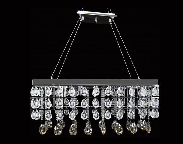 Smoked Rectangular Crystal Pendant Lamp