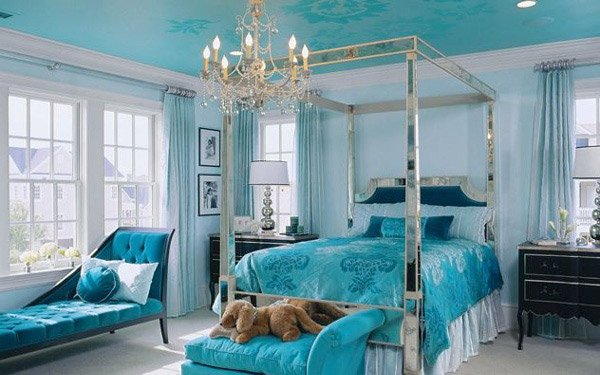 pretty combo of turquoise and black in 15 bedroom interiors | home