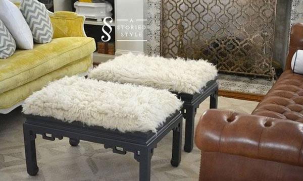 Flokati - Create Beautiful DIY Ottomans In 15 Easy Ways Home Design Lover