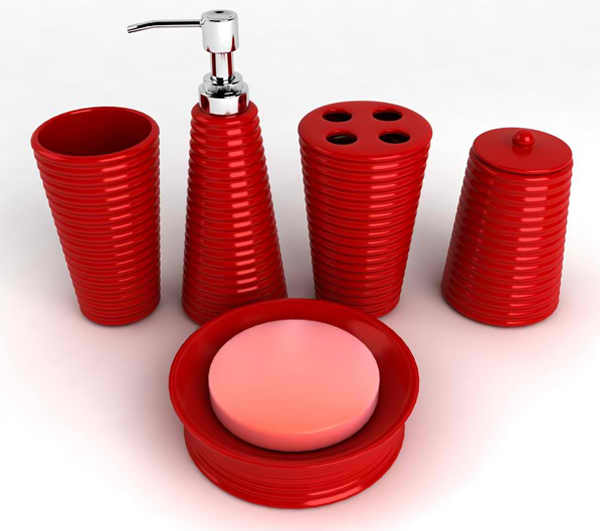 Red bathroom accessories sets