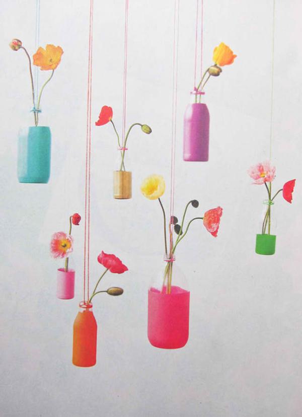 DIY Recycled Bottles Hanging Vases