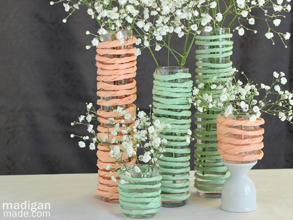 Mint and Peach Raffia Vases