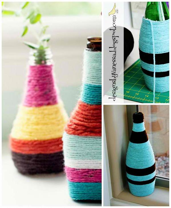 DIY Yarn Wrapped Vases