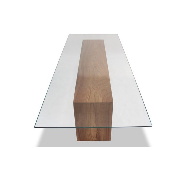 glass  glass glass: long wood dining table