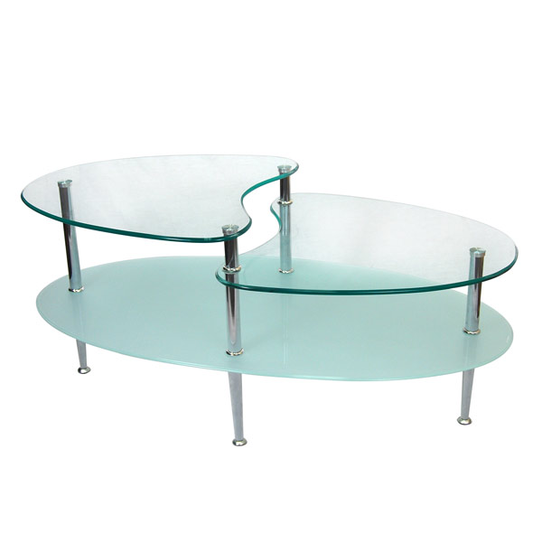 oval shape modern glass table