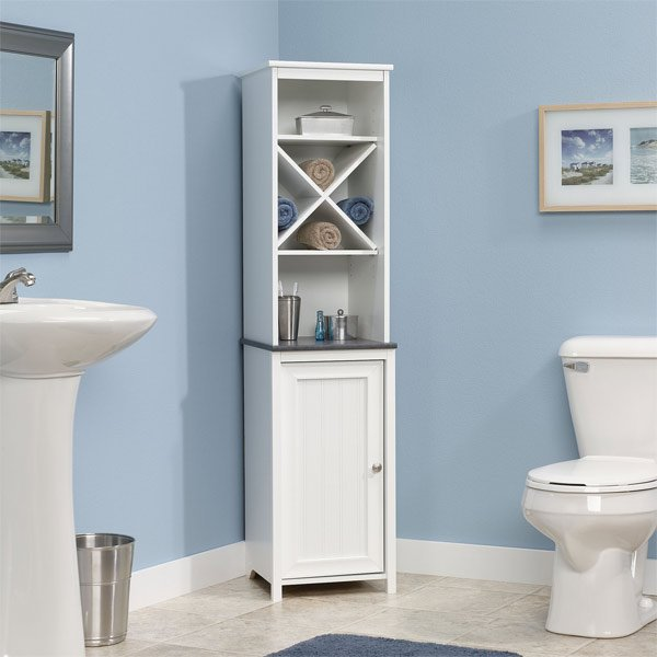 linen tower corner bathroom. 20 Corner Cabinets to Make a Clutter Free Bathroom Space   Home