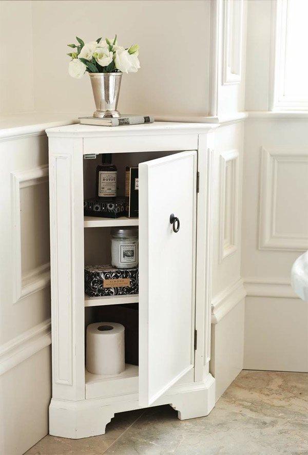 white corner bathroom storage
