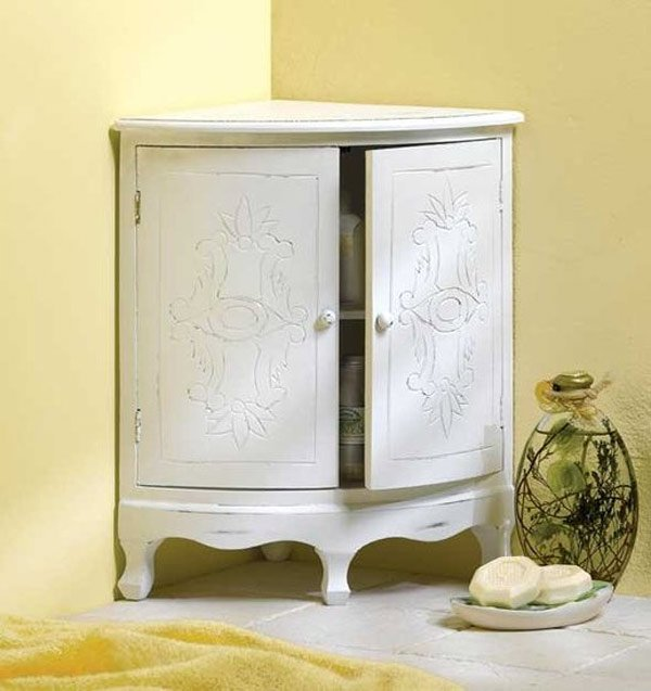 white corner cabinet. 20 Corner Cabinets to Make a Clutter Free Bathroom Space   Home
